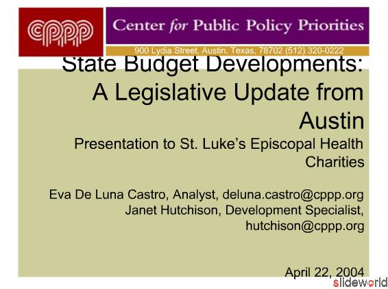 State Budget Developments A Legislative Update from Austin   