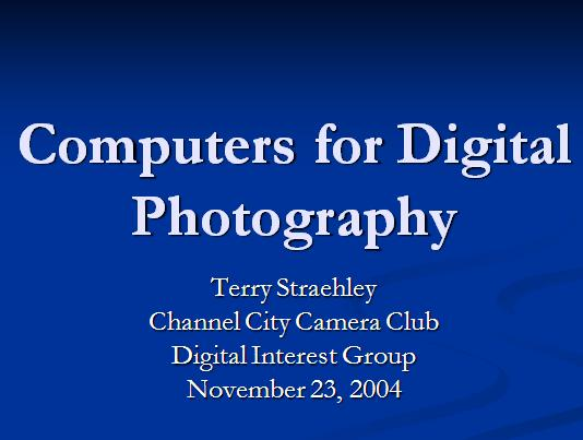  Computers  for Digital Photography 