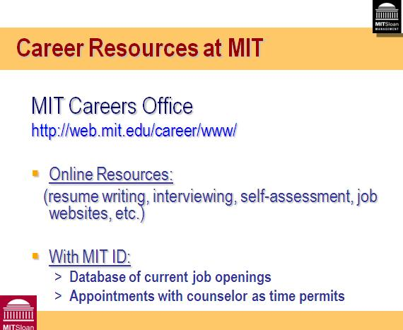 Career Resources at MIT