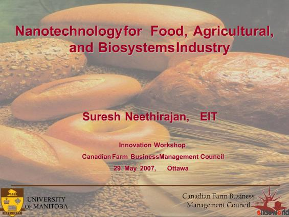 Nanotechnology for Food, Agricultural and Biosystems Industry