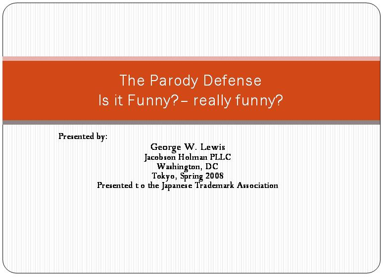 The Parody Defense Is it Funny really funny