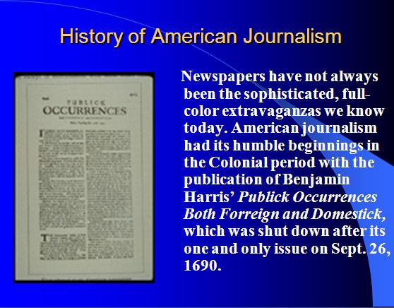 History of American Journalism