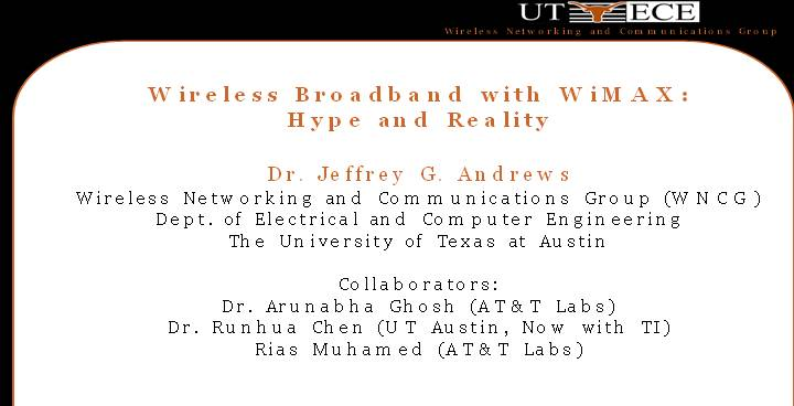 Wireless Broadband with WiMAX   Hype and Reality