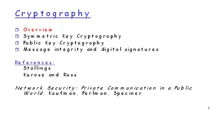 Cryptography  Symmetric Key Cryptography  Public Key Cryptography  Message integrity and digital signatures