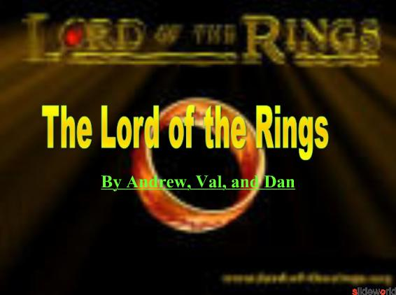 Lord Of The Rings The Story and the Characters