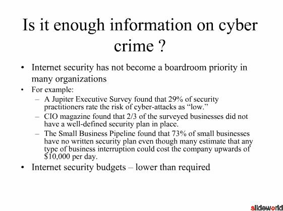 Cyber crime impact on Business