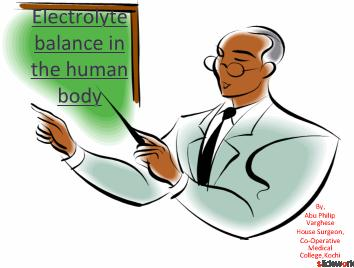 ELECTROLYTE BALANCE IN THE HUMAN BODY