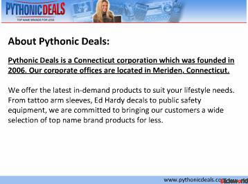 Pythonic Deals - Survival Kits, Ed Hardy Decals  More