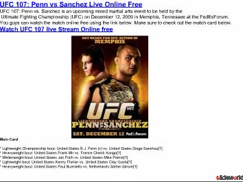 Watch Penn vs. Sanchez UFC 107 live online