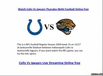 Watch Thursday Night Football Colts Vs Jaguars Live Online free