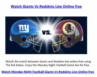 Watch Giants Vs Redskins NFL Week 15 Live Online free
