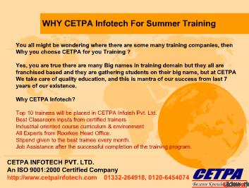 Summer Training for b-tech 3rd year students (All Branches)