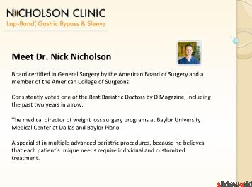 Nicholson Clinic - Lap Band, Gastric Bypass  Sleeve Gastrectomy Surgery