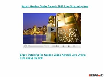 Watch Golden Globe Awards 2010 Live Stream online free