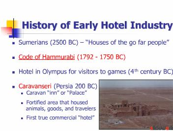 History of the Hospitality Industry Powerpoint Presentation