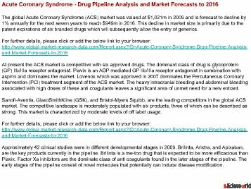 Acute Coronary Syndrome Drug Pipeline Analysis and Market Forecasts to 2016
