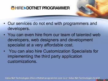 Hire a dotnet Programmer, Dot Net Developer on Monthly, Part-Time or Hourly Basis
