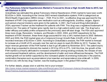 Pulmonary Arterial Hypertension (PAH) - Drug Pipeline Analysis and Market Forecasts to 2016