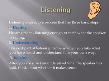 Listening  Nonverbal communication