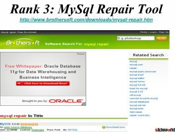 Top 5 MySQL Repair Tools