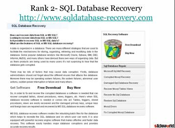 Top 5 Sites on MS SQL Database Repair