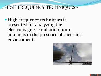 HIGH FREQUENCY TECHNIQUES FOR ANTENNA ANALYSIS