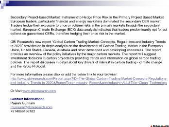 The Global Carbon Trading Market Concepts, Regulations and Industry Trends to 2020