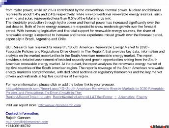 South American Renewable Energy Markets to 2020
