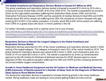 The Future of Anesthesia and Respiratory Devices, Competitive Landscape and Forecasts to 2016