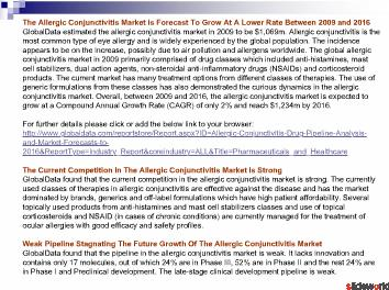 Allergic Conjunctivitis - Drug Pipeline Analysis and Market Forecasts to 2016