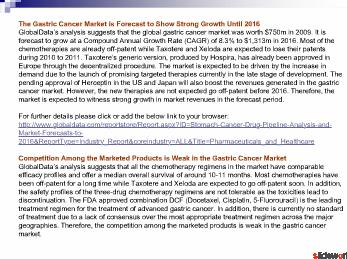 Stomach Cancer - Drug Pipeline Analysis and Market Forecasts to 2016