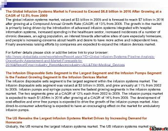 Global Infusion Systems Pipeline Analysis, Opportunity Assessment and Market Forecasts to 2016