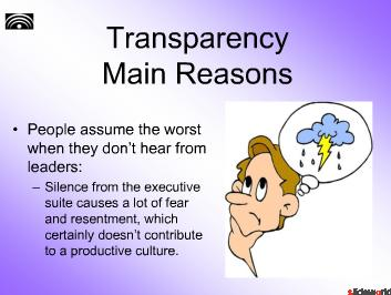 Transparency in our Company