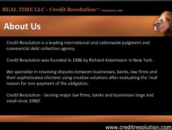 Credit Resolution - Judgment  Commercial Debt Collection Agency
