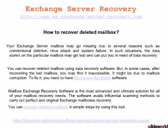 Exchange Server Recovery