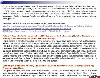 Global Top 10 Emerging Refining Markets - Analysis of Capacity to 2015