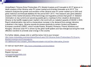 Ukraine Solar Photovoltaic (PV) Market Analysis and Forecasts to 2015