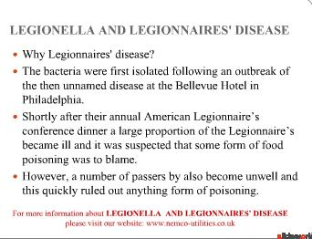 LEGIONELLA AND LEGIONNAIRES