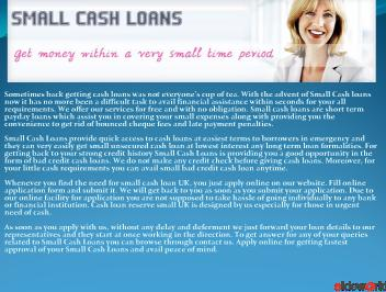 Small Cash Loans