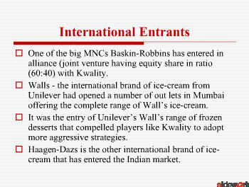 MARKETING STRATEGIES USE  IN ICE-CREAM INDUSTRIES