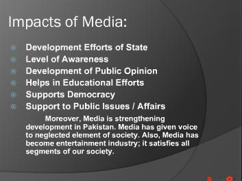 Effects of Mass Media on Pakistan