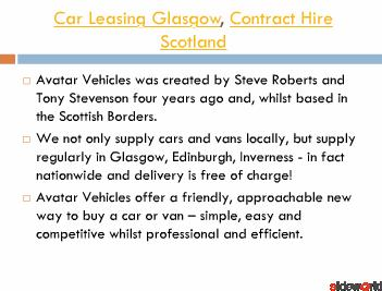 Car Leasing Glasgow from Avatar Vehicles