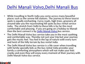 Bus Rental India  Bus Rental Delhi (India) Bus Rental Jaipur  Delhi Manali Volvo Bus Service