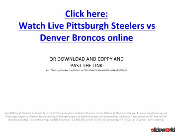 Pittsburgh Steelers vs Denver Broncos live streaming