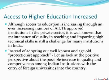 Entry of Foreign Universities will Lead to Enhanced Quality and Competition in Higher Education