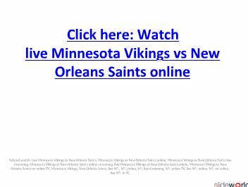 Minnesota Vikings vs New Orleans Saints live streaming on onine in NFL week 1