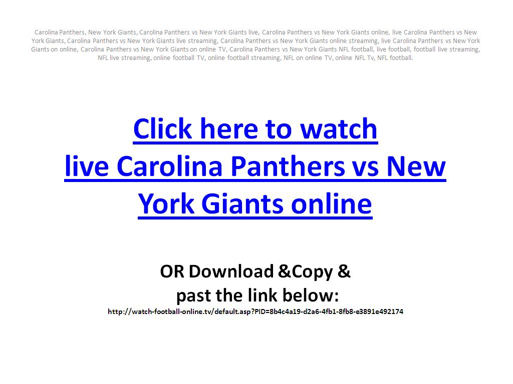 Live Carolina Panthers vs New York Giants on online in your PC