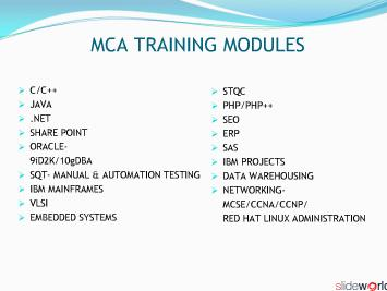MCA Project Training
