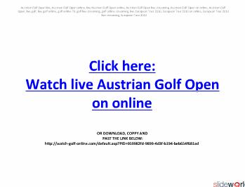 Austrian Golf Open live streaming on online in European Tour 2010  Final day