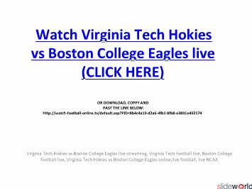 Virginia Tech Hokies vs Boston College Eagles live streaming online in NCAAFB